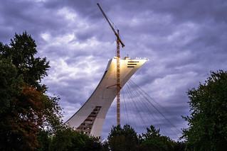 Crane and stadium