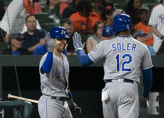 Whit Merrifield, Jorge Soler | by KA Sports Photos