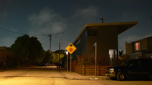 flat roof house night sky by lazybone cafe
