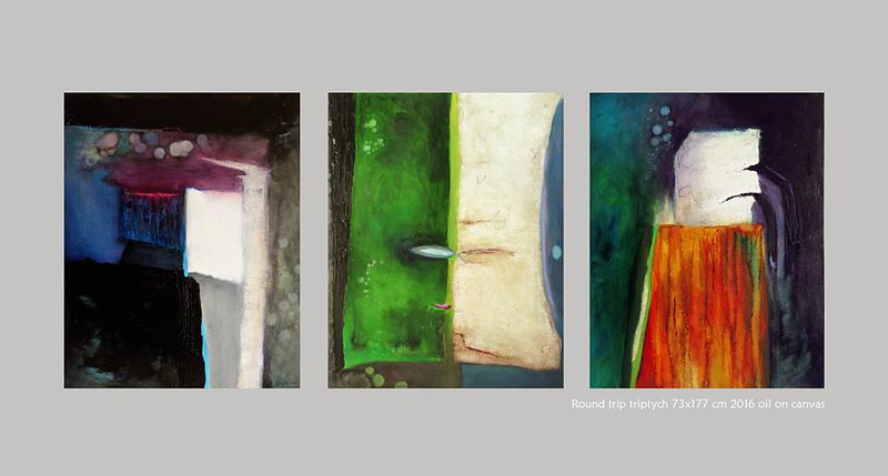 Round Trip triptych - 73x177 cm Oil on canvas 2016