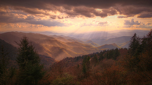 waterrock knob blue ridge parkway north carolina mountains sea trail sunset landscape