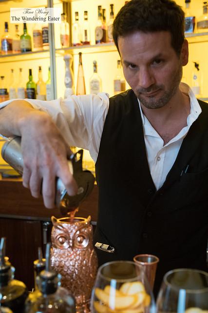 Making The Edition Owl - ELYX Vodka, Pomegranate, Boulard Calvados, Mumm Champagne