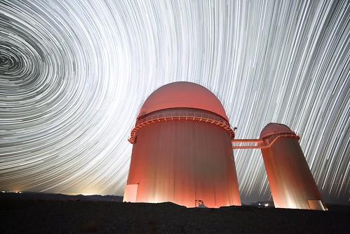 Star trail over the ESO 3.6m telescope
