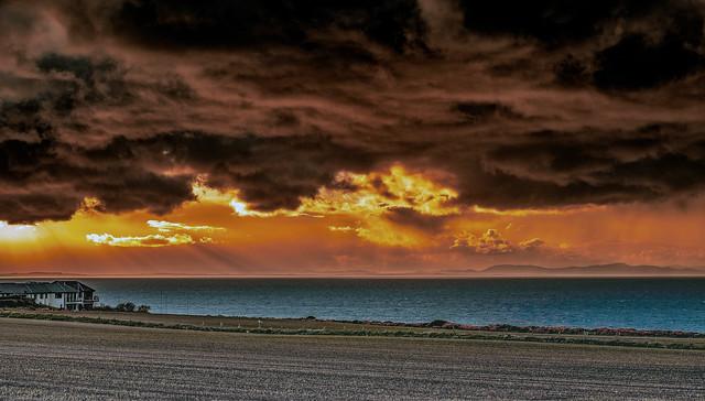 Burghead sunset of fire (dust/smoke from Hopeman gorse fire)
