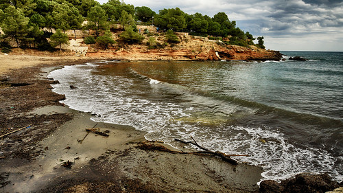 playa cala calapixavaques lametllademar arboles costa cielo nubes arena algas agua naturaleza nature sonya77 airelibre