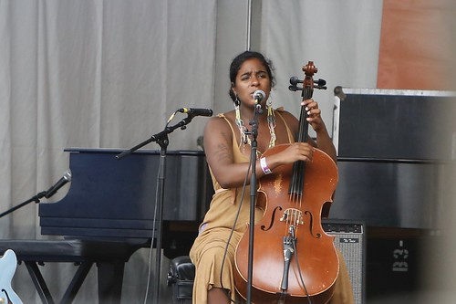 Leyla McCalla on Day 6 of Jazz Fest - May 5, 2018. Photo by Michele Goldfarb.