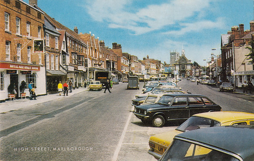 High Street, Marlborough old postcard, early-mid 1970s | by Spottedlaurel