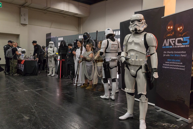 Cosplayers clad as different Star Wars characters
