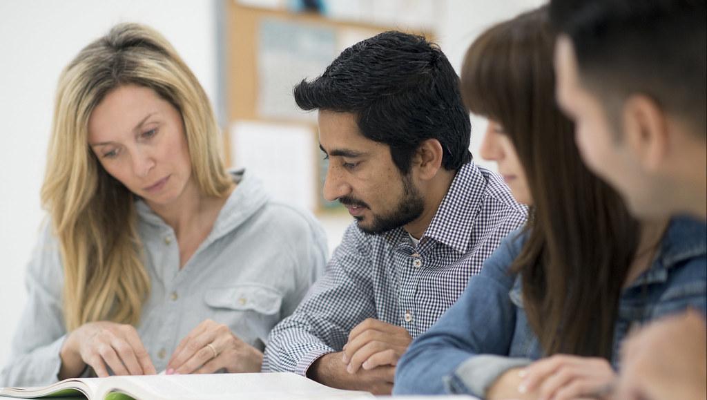 Postgraduate students in a teaching spacr