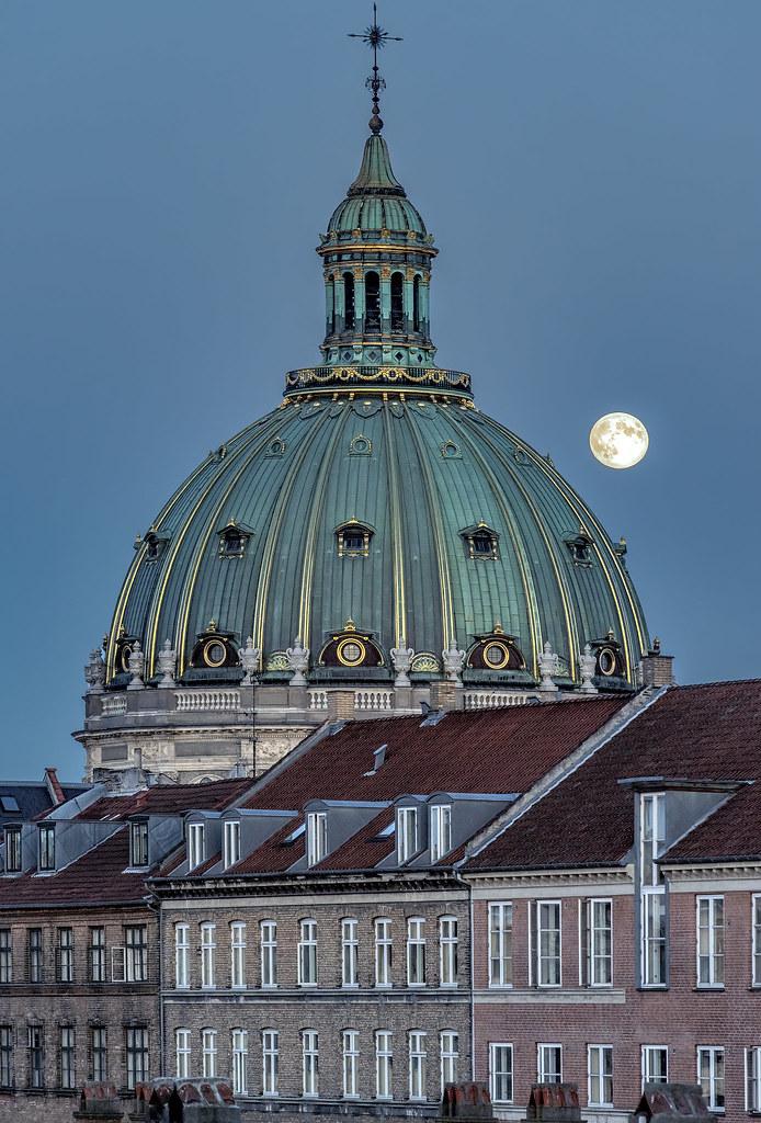 Full moon rise over Copenhagen's Marble Church