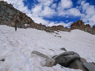 Jason crossing the snowfield below Lamarck Col | by snackronym