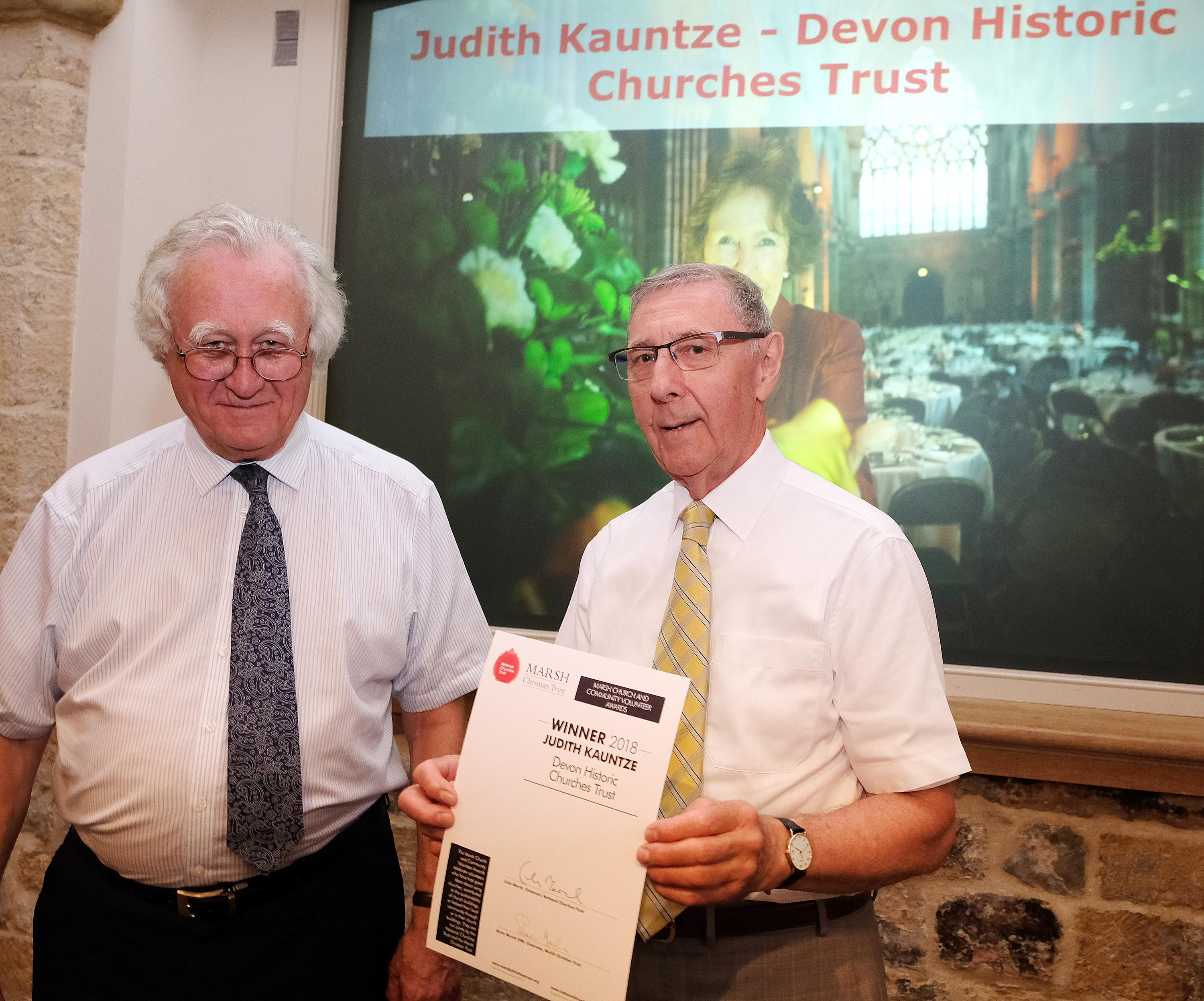 David Knowles representing Judith Kauntze with Brian Marsh from Marsh Christian Trust (c Mike Swift)