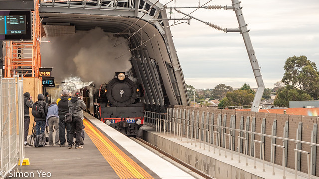 First steam train on SkyRail