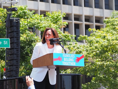 U.S. Sen. Kamala Harris speaks at L.A.'s Families Belong Together March