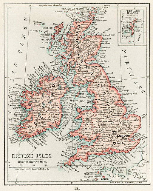 Universal Atlas of the World, A cartographic map of the British Isles. published in 1900. Digitally enhanced from our own original plate.