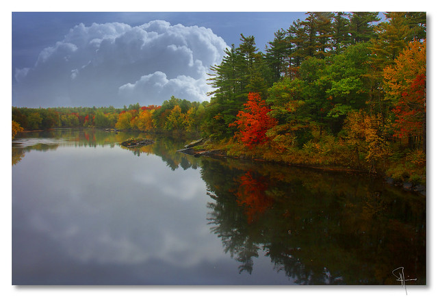 New England lake in autumn - by John Runions