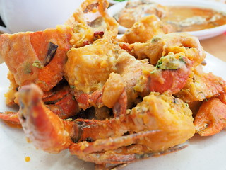 Salted egg crabs at at Pangkor Seafood Village,Taman Megah | by huislaw