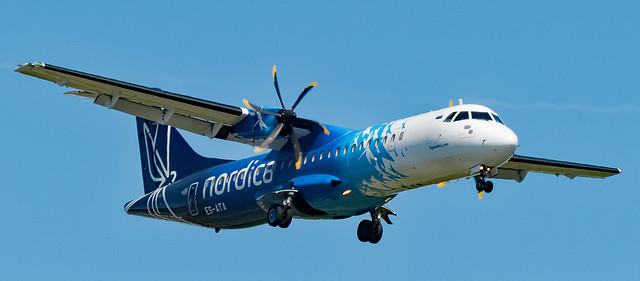 Nordica plane on approach to Airlanda Airport