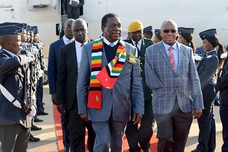 President of Zimbabwe Emmerson Mnangagwa arrives at Waterkloof Air Force Base ahead of the BRICS Africa Outreach Summit | by GovernmentZA