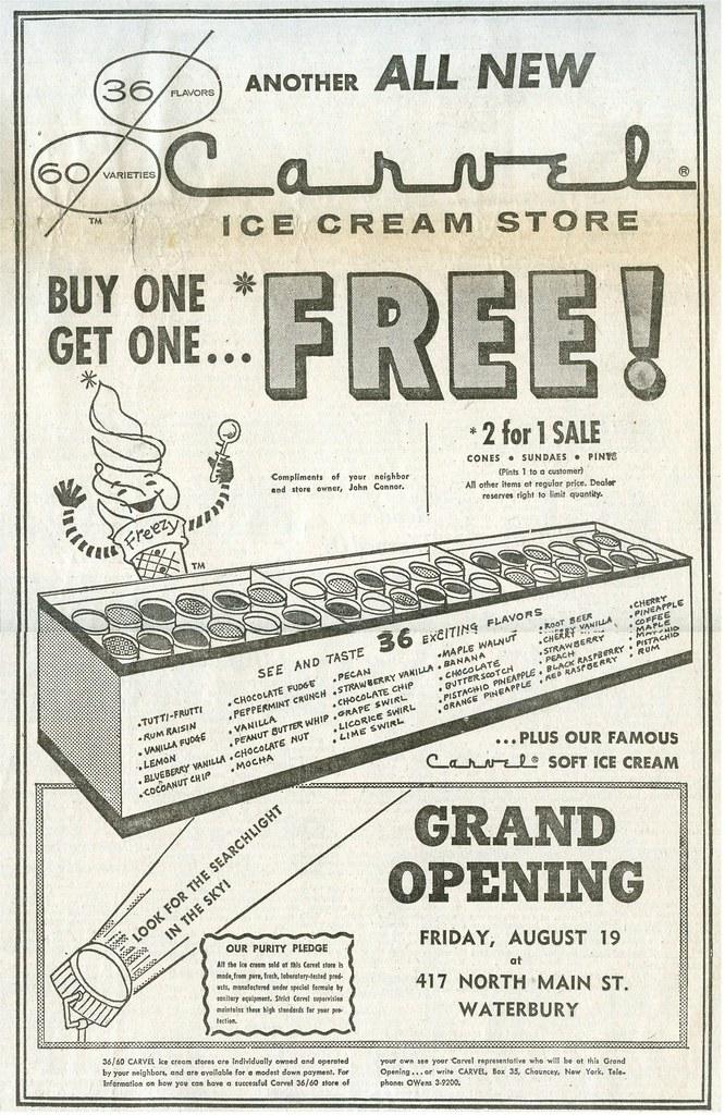 Vintage Carvel Ice Cream Ad, Waterbury CT  1960 | While Wate… | Flickr