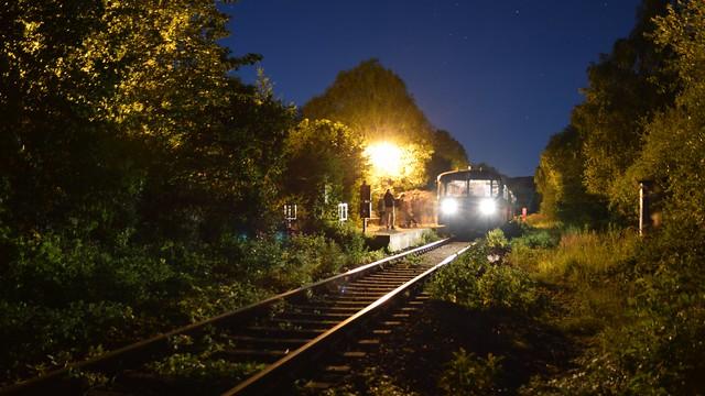 Schienenbus und Sterne - railcar and stars