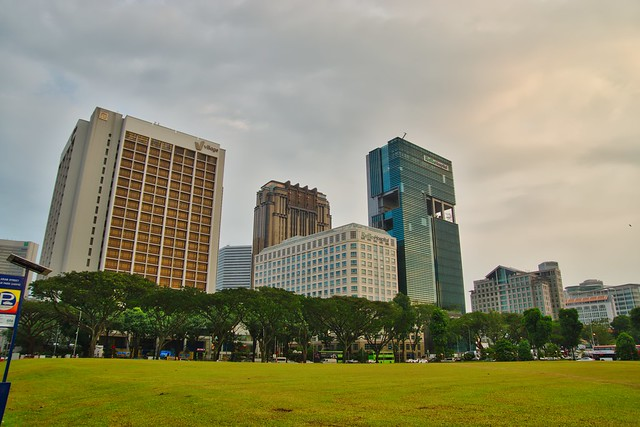 Public park on Arab Street with view of Raffles Hospital in Singapore