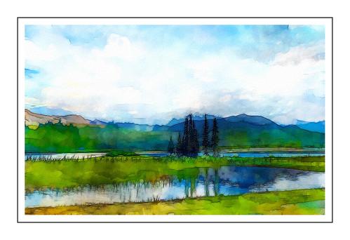 eğrigöl hadim gündoğmuş konya antalya toroslar yayla göl türkiye turkey suluboya watercolor recepmemik summer landscape mountain green lake