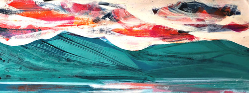"""Copper Mountain horizontal, acrylic on paper, 10"""" x 24"""". Trying to break the logjam in my studio. 