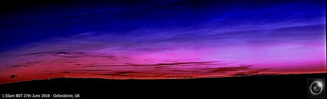 Noctilucent CloudPanorama pre-dawn 27th June 2018