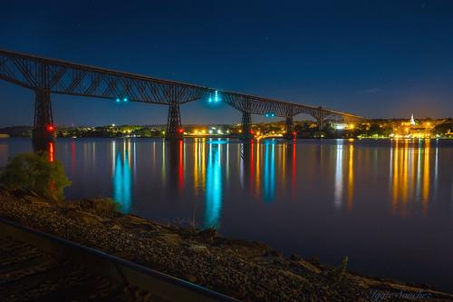 bridge night lights trestle colors reflections city sky longexposure river hudson upstate newyork putnam county