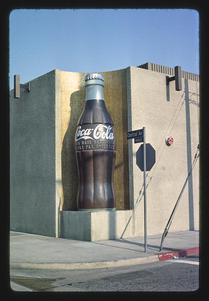 Coca Cola Bottling Company, giant Coke bottle corner detail, 14th & Central Avenue, Los Angeles, California (LOC)