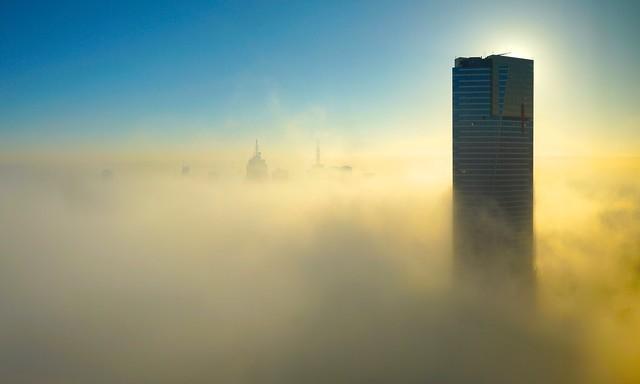Eureka tower in the clouds at sunrise, Melbourne, Victoria, Australia