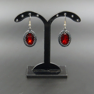 Red bead earrings Oval tiny black Gunmetal ruby Beaded small crystal stone Dangle Vintage style Lightweight Mother Friend Lover Birthday