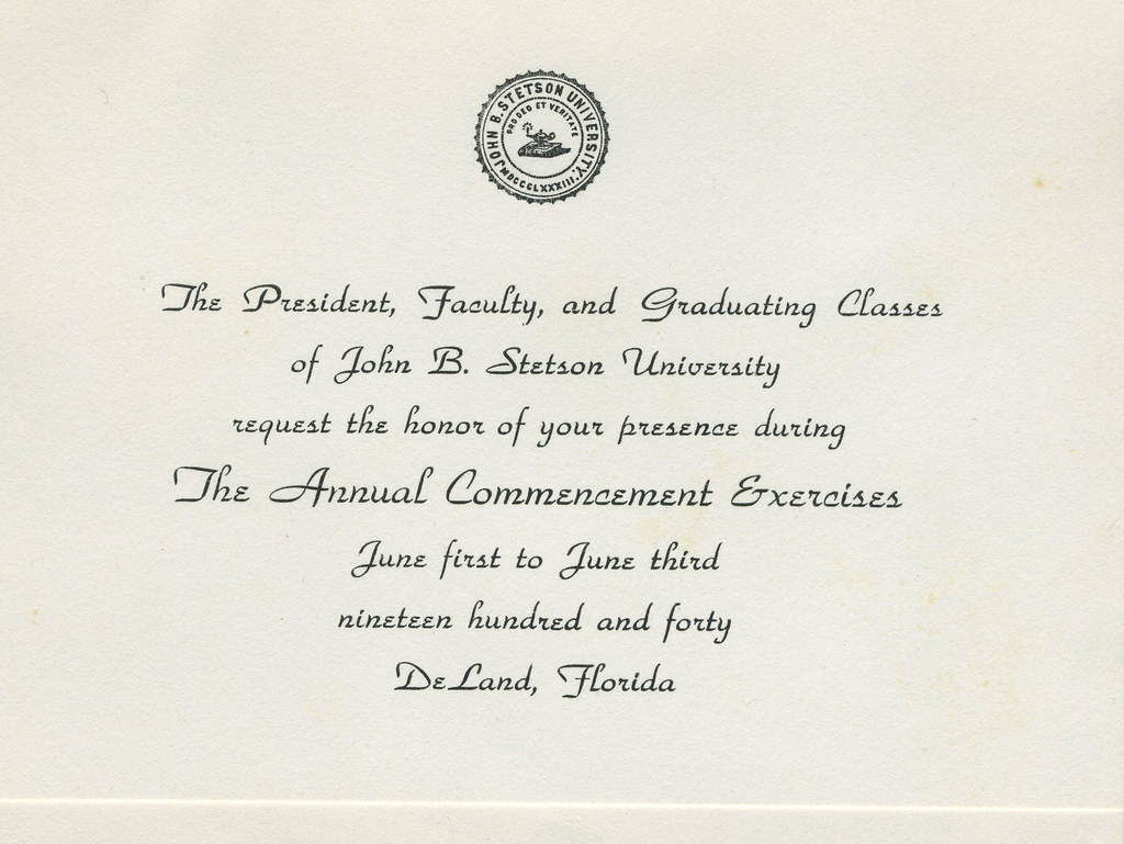 Stetson University Graduation Invitation, 1940 | From the Ro… | Flickr