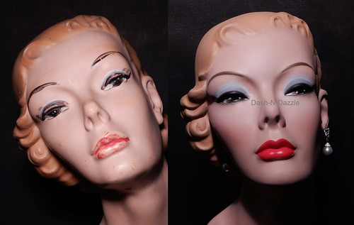 50s millinery bust before & after