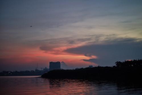 2018 cambodia phnompenh landscape sunset sky clouds kohoknhatei island silkisland mekong mekongriver river kh