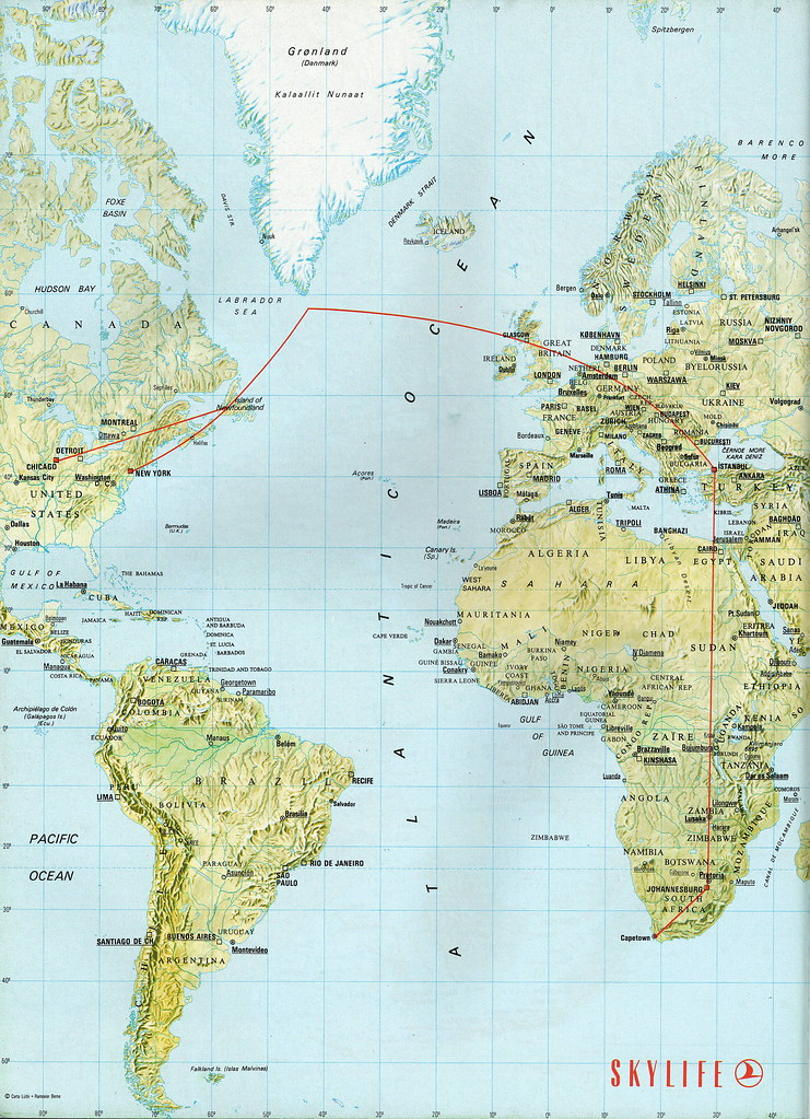 Turkish Airlines Africa and North America map, 1998   Flickr
