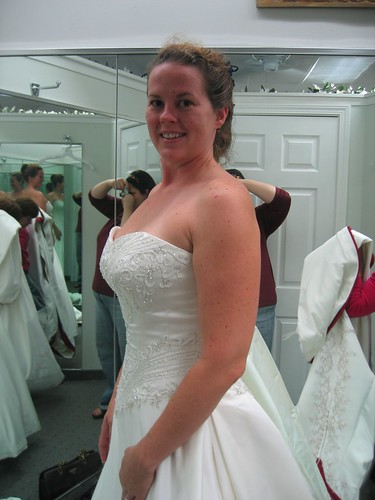 Kathleen trying on Wedding Dresses