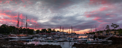 sailboat sunrise lobster camden pier reflection me harbor maine jclay newengland ocean boat fairplay schooner panoramic bay