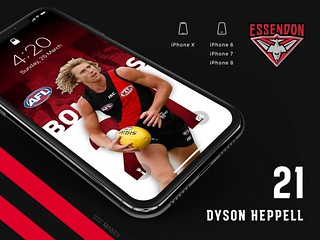 #21 Dyson Heppell (Essendon Bombers) iPhone Wallpapers | by Rob Masefield (masey.co)