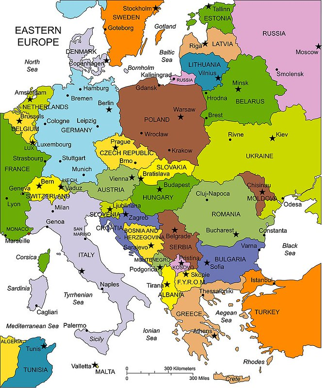 Map of Eastern Europe, Undated | Some of the countries and c ...