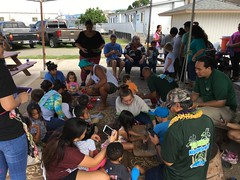 Children from HonCCʻs Keiki Hauʻoli Childrenʻs Center experienced pounding kalo (taro root) into poi.