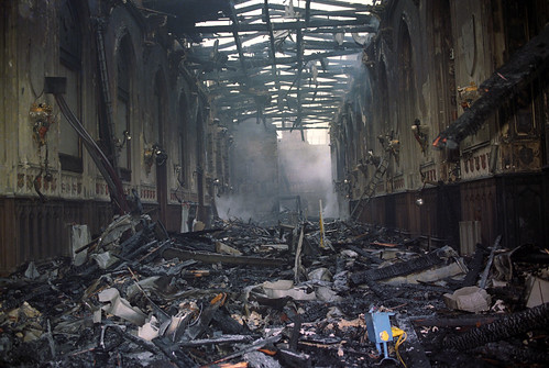 Fire damage in St George's Hall in 1992 | by The British Monarchy