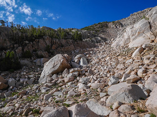 Lamarck Col use trail switchbacks up this steep gully | by snackronym