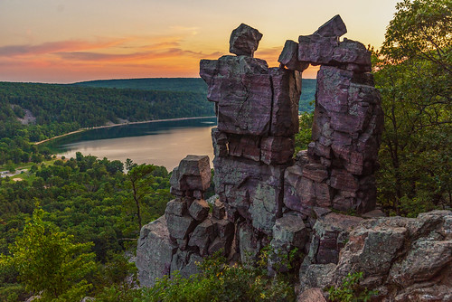 devils doorway lake state park wisconsin rock stone tree cliff hills hill sunset sunsets sun light sunlight summer green new old formation nikon d750 tamron landscape horizon nature color country wild water sky cloud clouds reflections white trees art july orange travel explore adventure beautiful