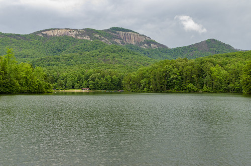 table rock state park south carolina the outdoor landscape lake water pinnacle mountain forest woods cloudy day