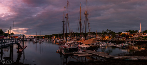 sailboat newengland wharf schooner ocean lobster camden pier bay me harbor boat reflection maine jclay sunrise