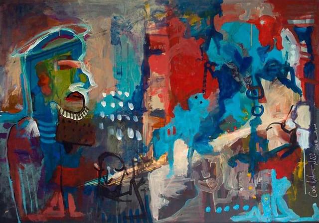 Ahmad Naffory studierte an der Kunsthochschule in Damaskus neben Malerei auch arabische Laute. Er ist Künstler, Musiker und Komponist. In seinen Gemälden experimentiert er mit allem: Neben Öl- und Acrylgemälden schafft er auch Collagen und Druckgrafiken. Die meisten seiner Arbeiten sind ein wilder Farbenrausch in der Tradition des Impressionismus.  In Amsterdam, wo er mittlerweile lebt, gründete er die Band CocoNaff & Friends und spielt seitdem Konzerte in ganz Europa.  Für das Bild gilt: ©Ahmad Naffory