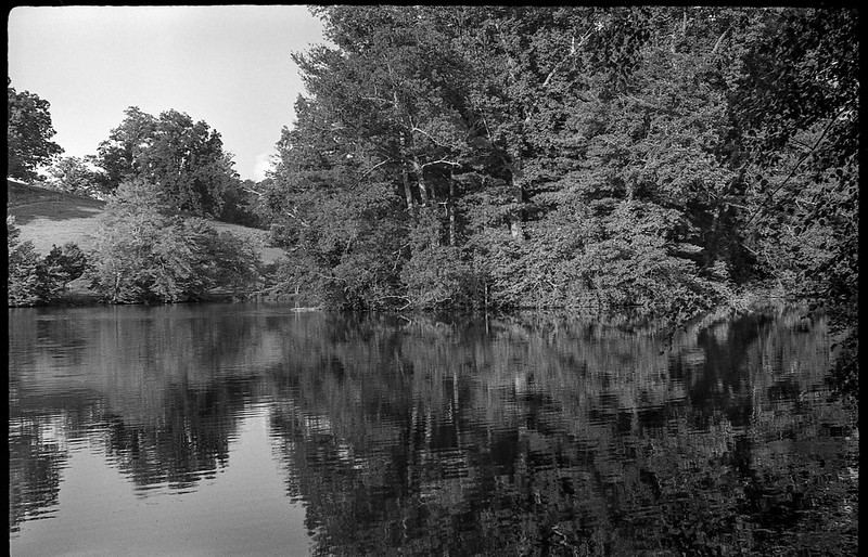 pond, reflection, rolling hill, Biltmore Estate, Asheville, NC, Fed 4, Industar 26, Kodak TMAX 400, Ilford Ilfosol 3 developer, 7.4.18