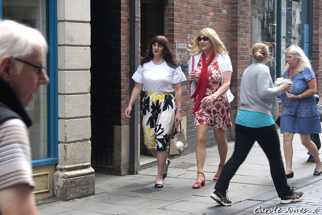 Walking through Durham City centre with Fiona.  Everyone about their own business and for the most part ignoring two of the very few women in skirts or dresses.
